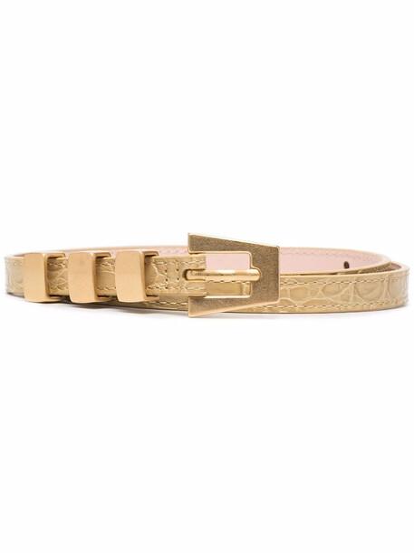 BY FAR Vic crocodile-effect leather belt - Neutrals