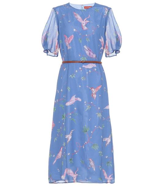Altuzarra Gormann printed silk chiffon dress in blue