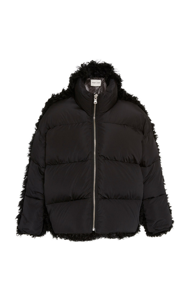 Sandy Liang Lorne Shearling-Trimmed Shell Puffer Jacket Size: XS in black