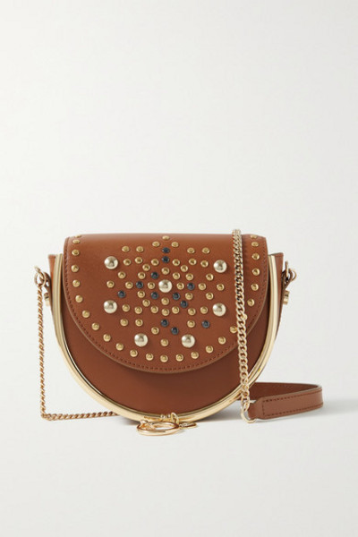See By Chloé See By Chloé - Mara Embellished Leather Shoulder Bag - Light brown