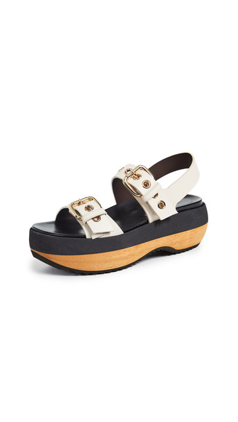 Marni Wedge Buckle Sandals in white