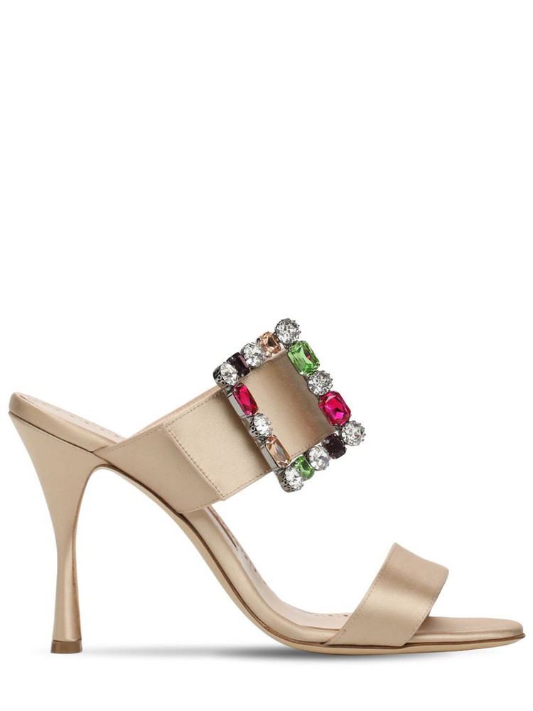 MANOLO BLAHNIK 105mm Verda Satin Mules