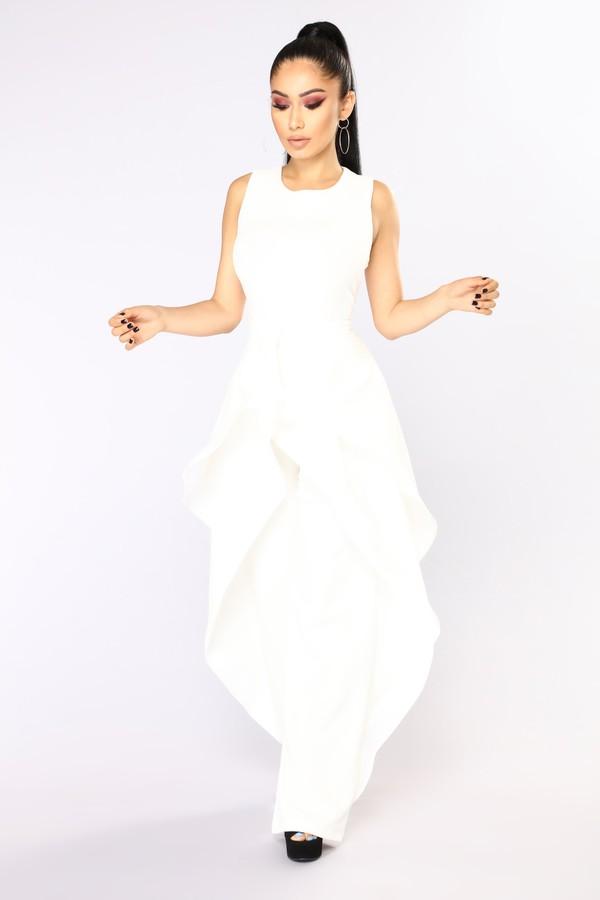 jumpsuit pantsuit white skirt pants skirtoverlay overlay fashion fashionnova outofstock ineed