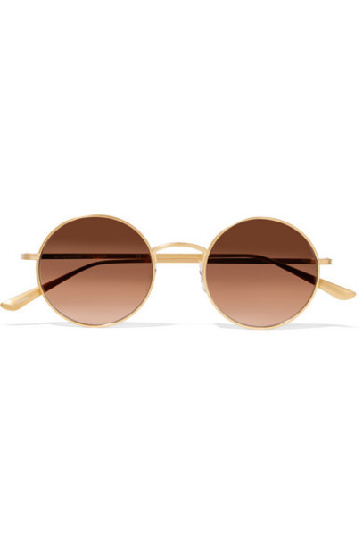 The Row - Oliver Peoples After Midnight Round-frame Gold-tone Sunglasses