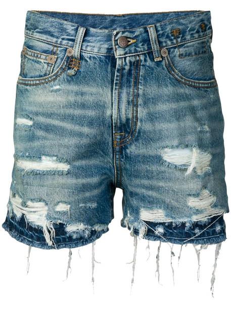 R13 double hem denim shorts in blue
