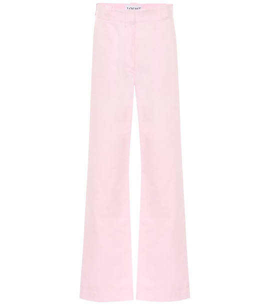 Loewe High-rise wide-leg cotton pants in pink