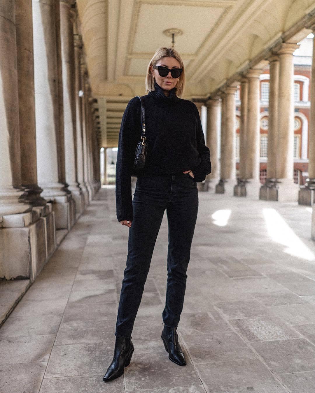 sweater black turtleneck top black sweater turtleneck sweater black boots ankle boots cropped jeans black jeans black bag shoulder bag