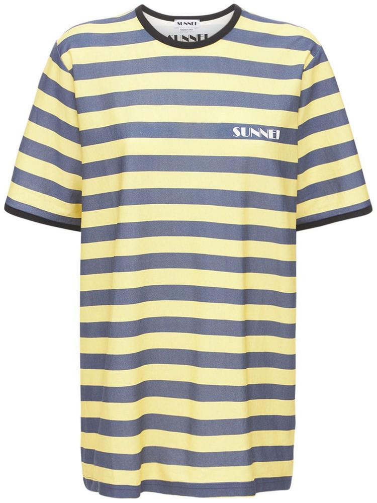 SUNNEI Striped Logo Cotton Jersey T-shirt in grey / yellow