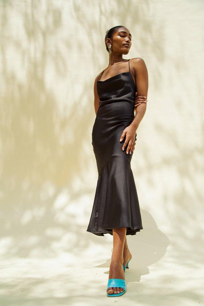 The Line by K Robi Cowl Neck Dress Black