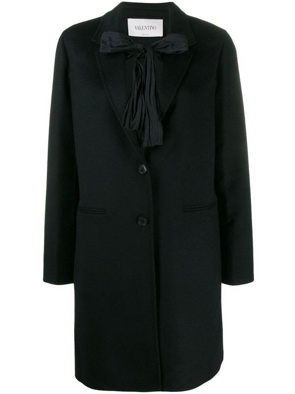 Valentino bow tie embellished coat in black