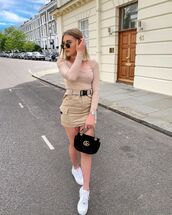 skirt,mini skirt,high waisted skirt,topshop,white sneakers,black bag,gucci bag,top