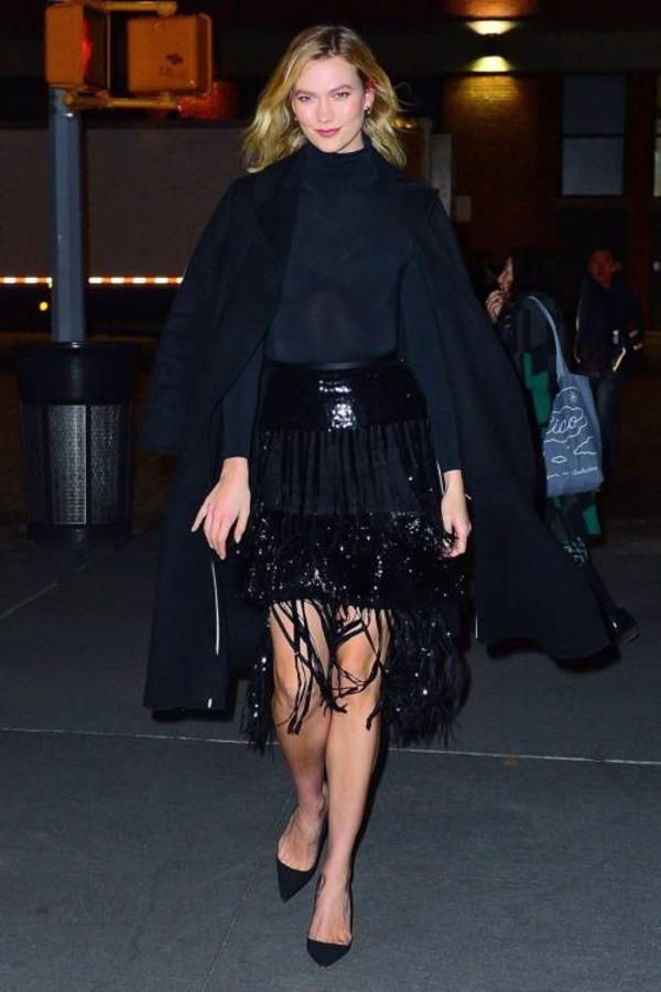 skirt all black everything karlie kloss model off-duty fashion week turtleneck sequins sequin skirt