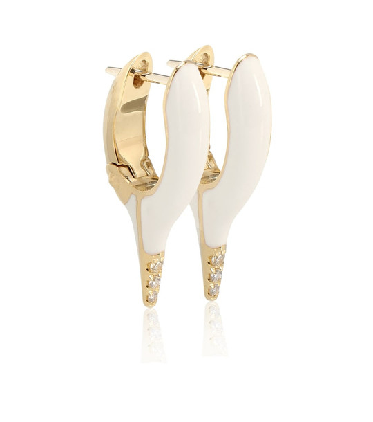 Melissa Kaye Lola Needle 18kt gold and diamond earrings in white
