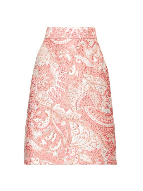 Dolce & Gabbana - A Line Floral Brocade Knee Length Skirt - Womens - Pink White