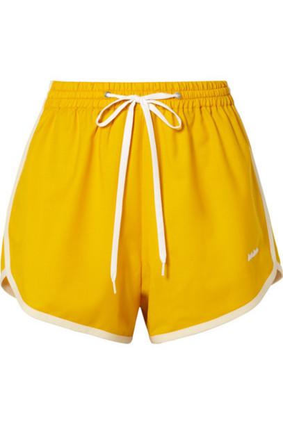 Miu Miu - Embroidered Wool And Mohair-blend Shorts - Mustard