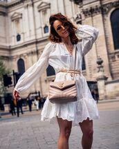 bag,ysl bag,crossbody bag,white dress,mini dress,lace dress,jewelry,necklace,belt