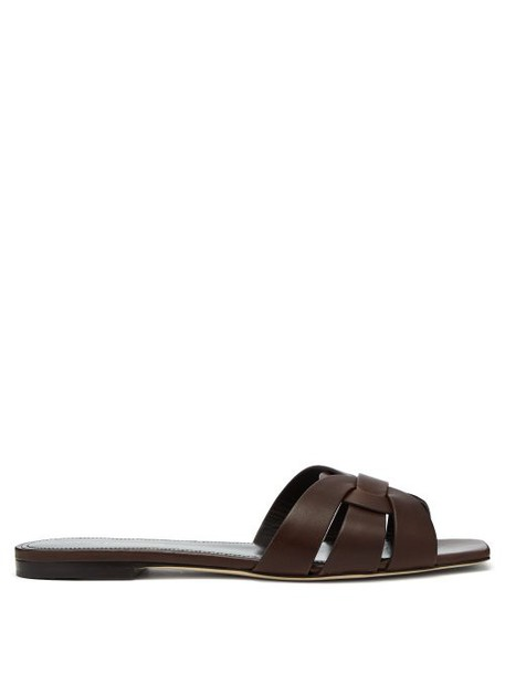 Saint Laurent - Tribute Leather Slides - Womens - Dark Brown