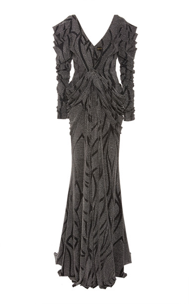 Christian Siriano Knit Jacquard Gown Size: 14 in silver