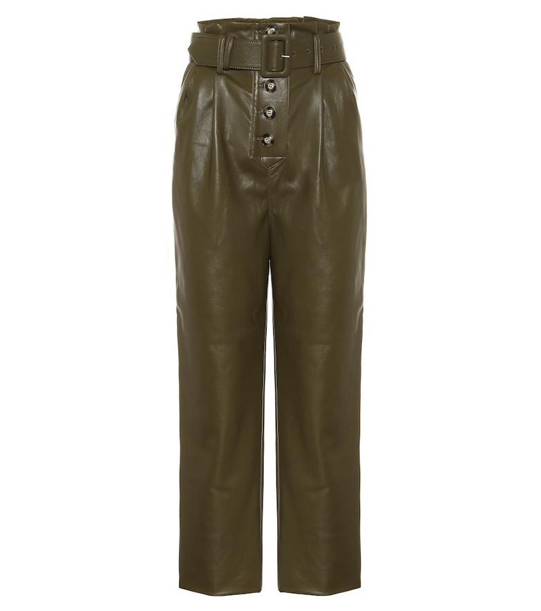 Self-Portrait High-rise faux-leather straight pants in green