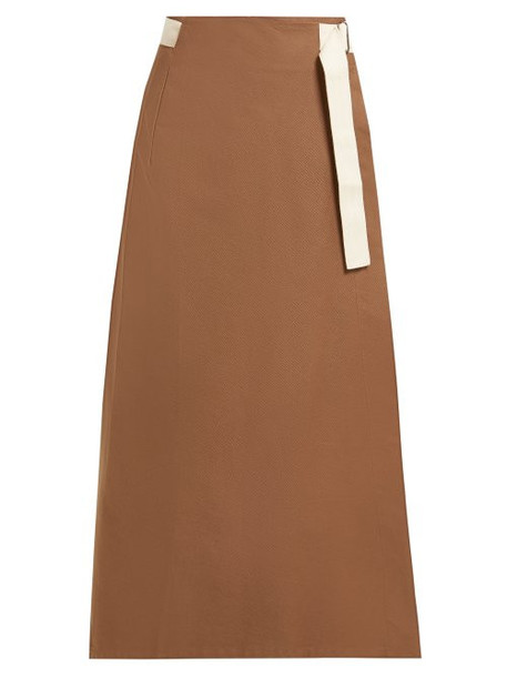 Albus Lumen - Nada Cotton Wrap Skirt - Womens - Brown