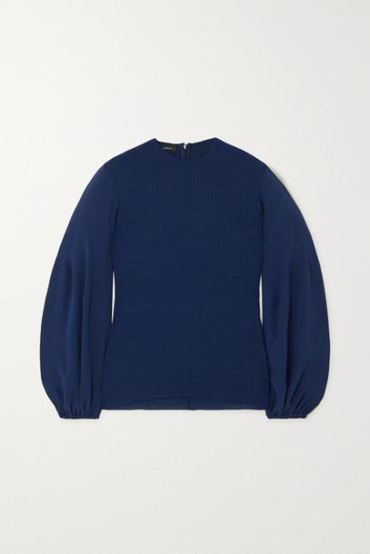 Akris - Silk And Plissé-crepe Blouse - Blue