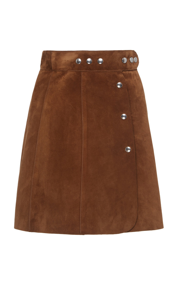Prada Studded Suede Mini Skirt Size: 36 in brown