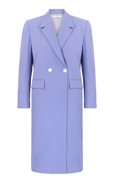 Amal Al Mulla Long Blue Crepe Straight Cut Blazer Size: 10