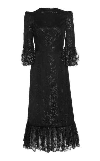 The Vampire's Wife Wild Rose Fil Coupé Satin Maxi Dress in black