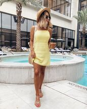 dress,yellow dress,mini dress,sleeveless dress