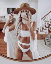 swimwear,bikini,swimwear two piece,white swimwear,kimono,hat,summer,bikini top,bikini bottoms,felt hat