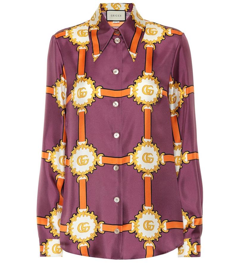Gucci Printed silk shirt in purple