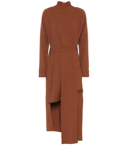 Tibi Asymmetric midi dress in brown
