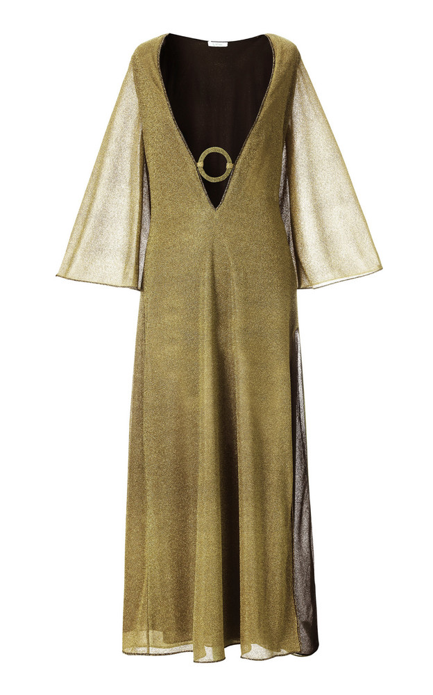 Oseree Embellished Lurex Maxi Dress in gold