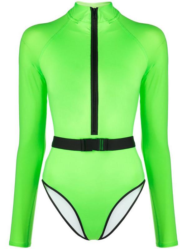 Noire Swimwear Surf-Up long-sleeve swimsuit in green