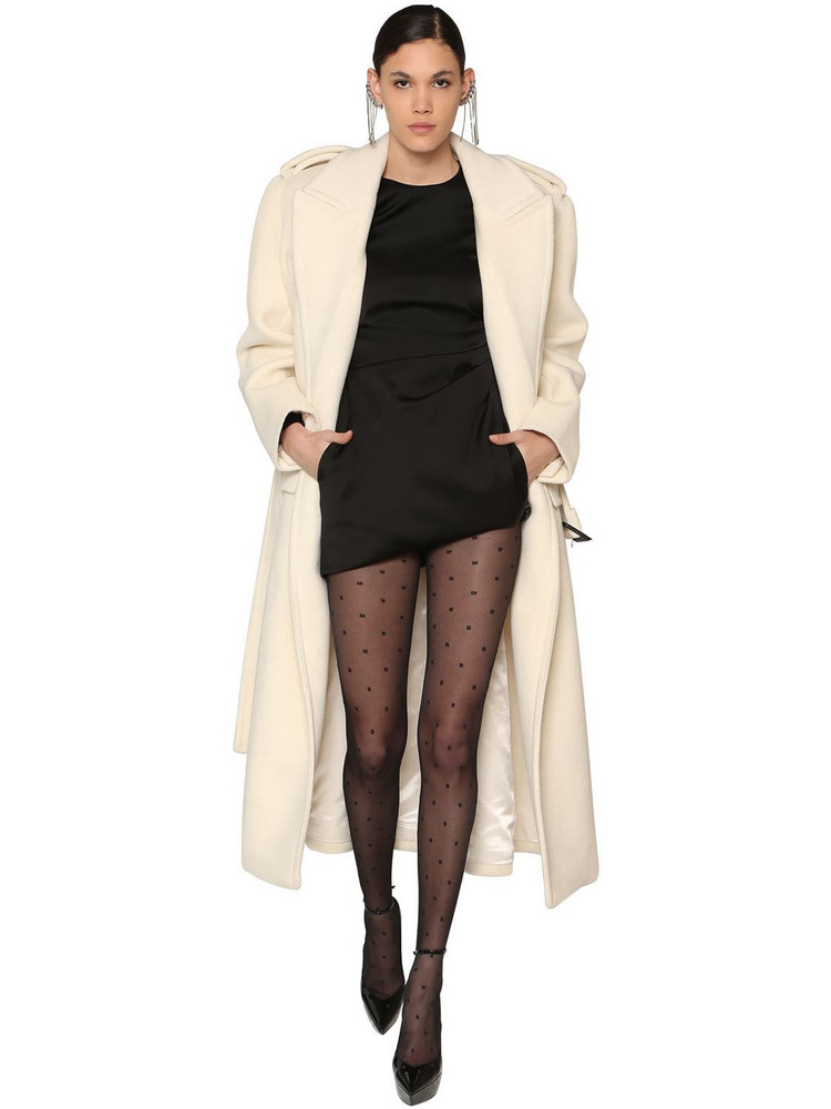 SAINT LAURENT Long Wool Chevron Coat in white
