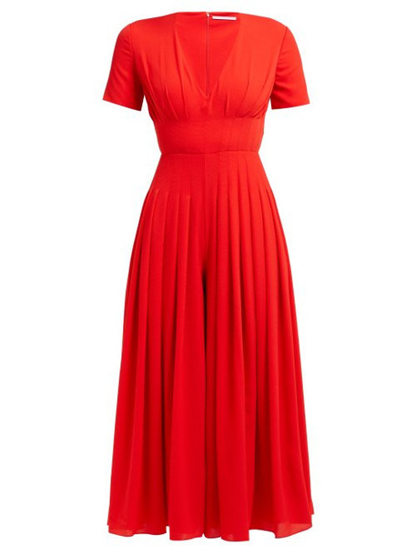 Emilia Wickstead - Rona Pleated Crepe Jumpsuit - Womens - Red