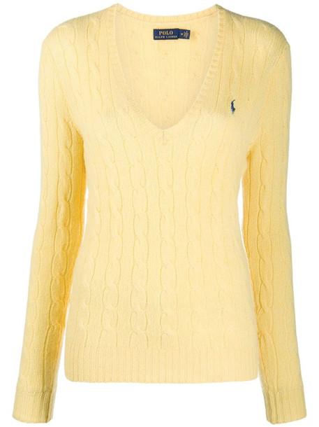 Polo Ralph Lauren logo knit V-neck jumper in yellow