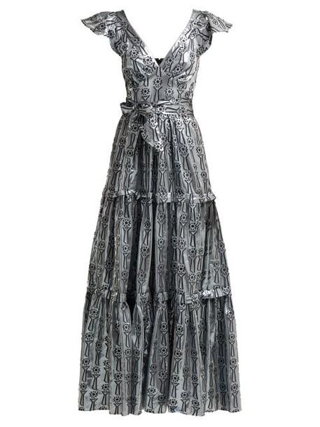 Temperley London - Eliska Fil Coupé Lamé Gown - Womens - Silver
