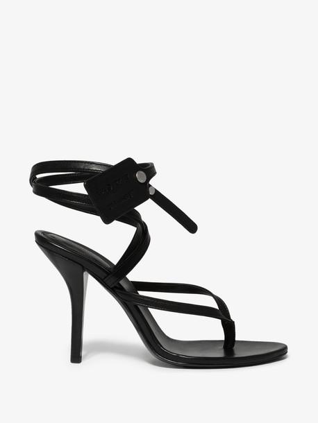 Off-White black 100 zip tie leather sandals