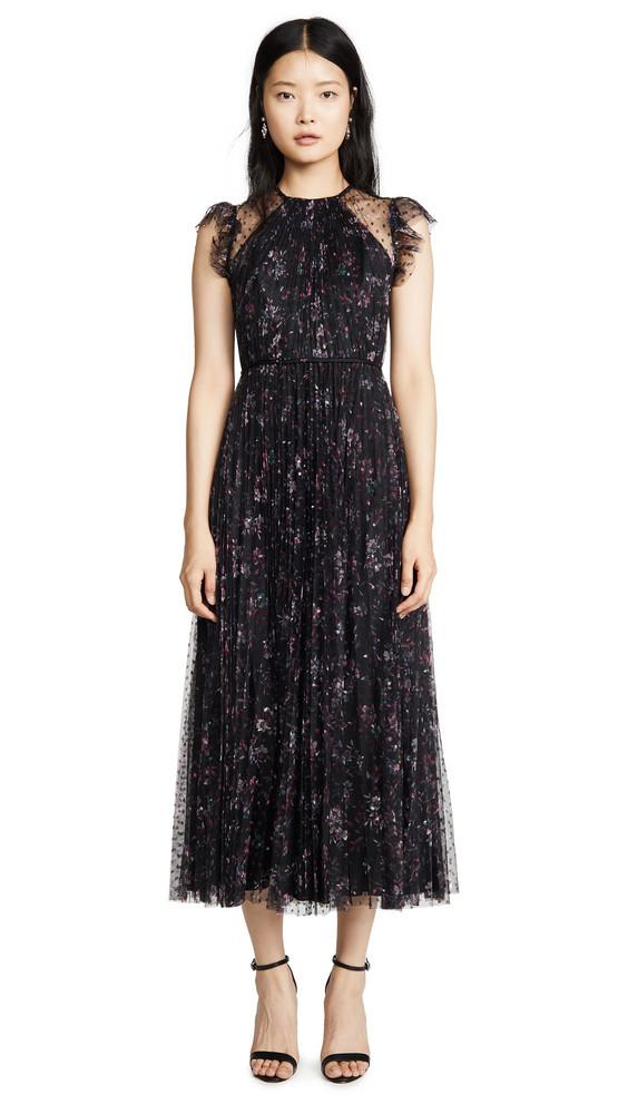 Jill Jill Stuart Pleated Floral Dress in black / multi