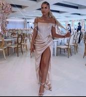 dress,satin,champagne color,bodycon,slit dress