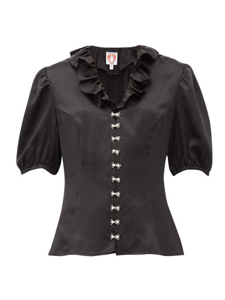 Shrimps - Levi Faux-pearl Embellished Silk-satin Blouse - Womens - Black