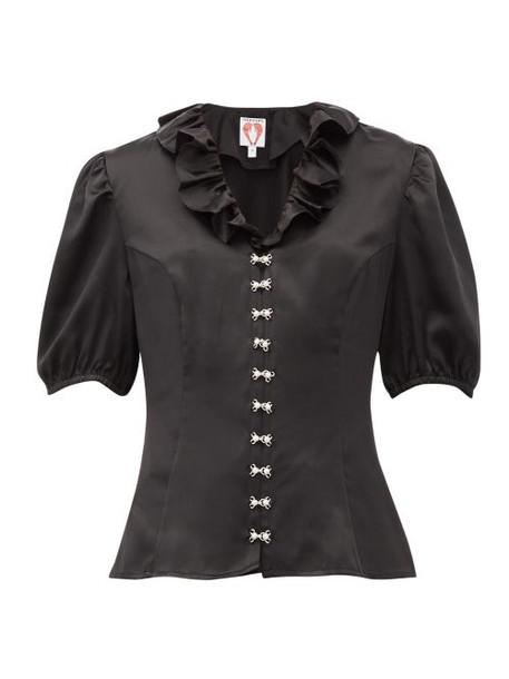 Shrimps - Levi Faux-pearl Embellished Silk-satin Blouse - Womens - Black