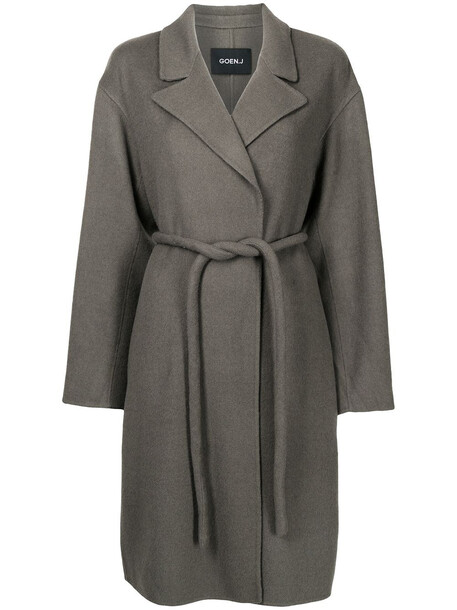 Goen.J peak-lapel belted coat - Grey