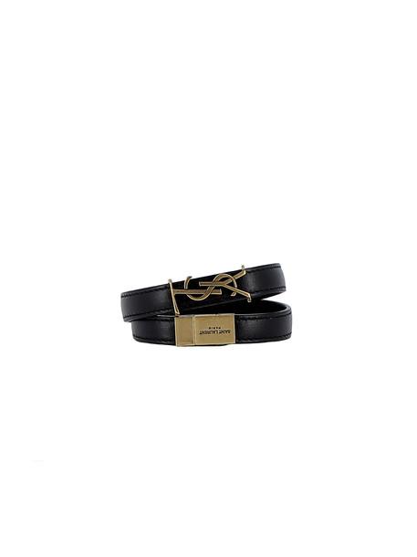 Saint Laurent Black Leather Bracelets