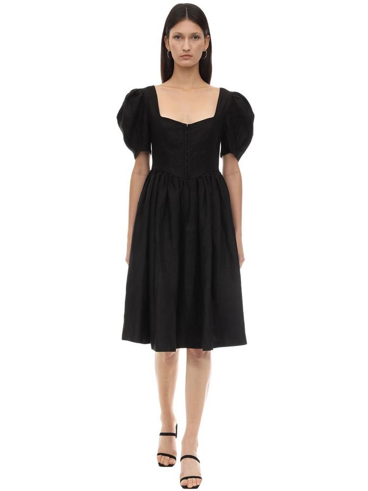 GIOIA BINI Clo Linen Dirndl Dress in black