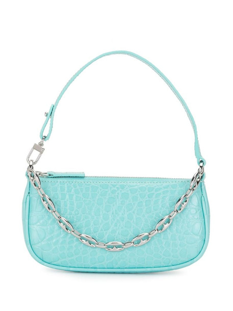 BY FAR crocodile-effect shoulder bag with chain-link detail in blue