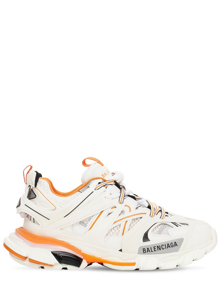 BALENCIAGA 30mm Track Faux Leather & Mesh Sneakers in orange / white