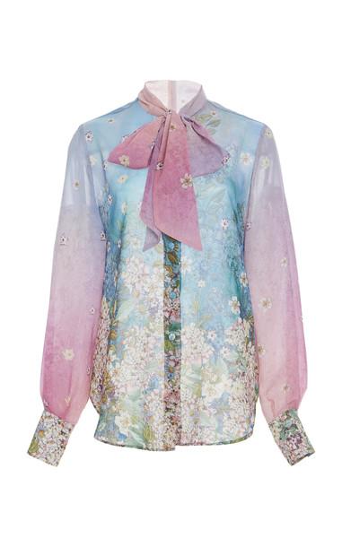 Luisa Beccaria Floral Print Chiffon Blouse Size: 38