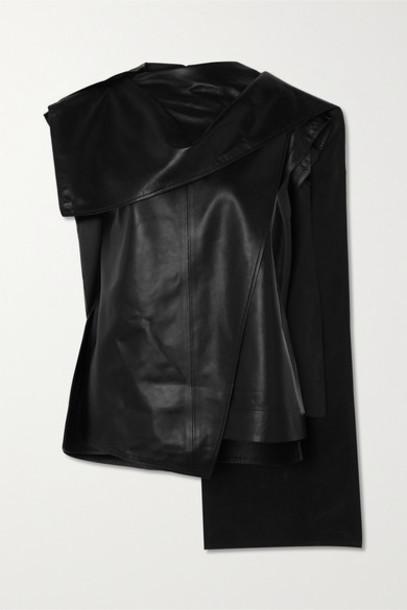 Proenza Schouler - Draped Leather Top - Black